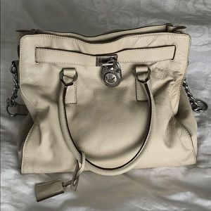 Michael Kors Hamilton Handbag White Leather